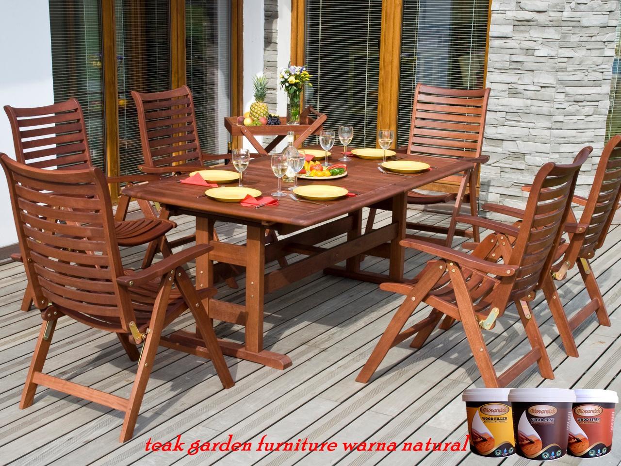 teak garden furniture warna natural transparan