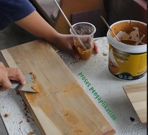 aplikasi wood filler